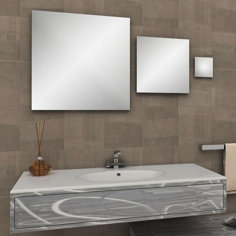 Tris specchi quadri a filo lucido per ambiente bagno - Tris tappeti bagno ...