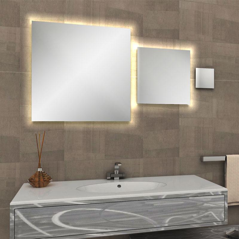 Tris specchi quadri a filo lucido con fascia led per - Quadri per bagno ...